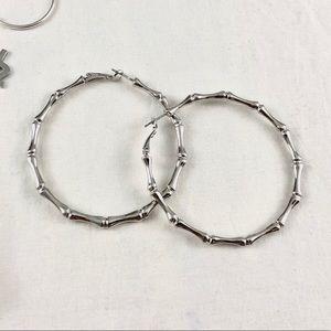 silver bamboo hoop earrings